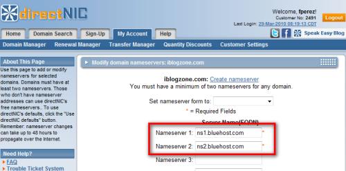 blogger to wordpress nameservers