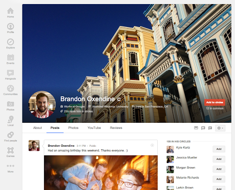 profile google plus