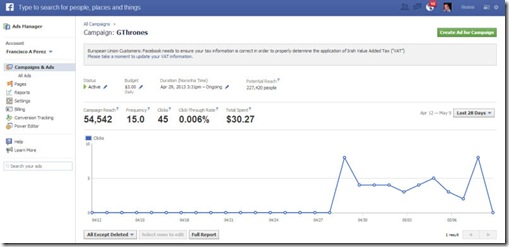 Facebook ads campaign tracking