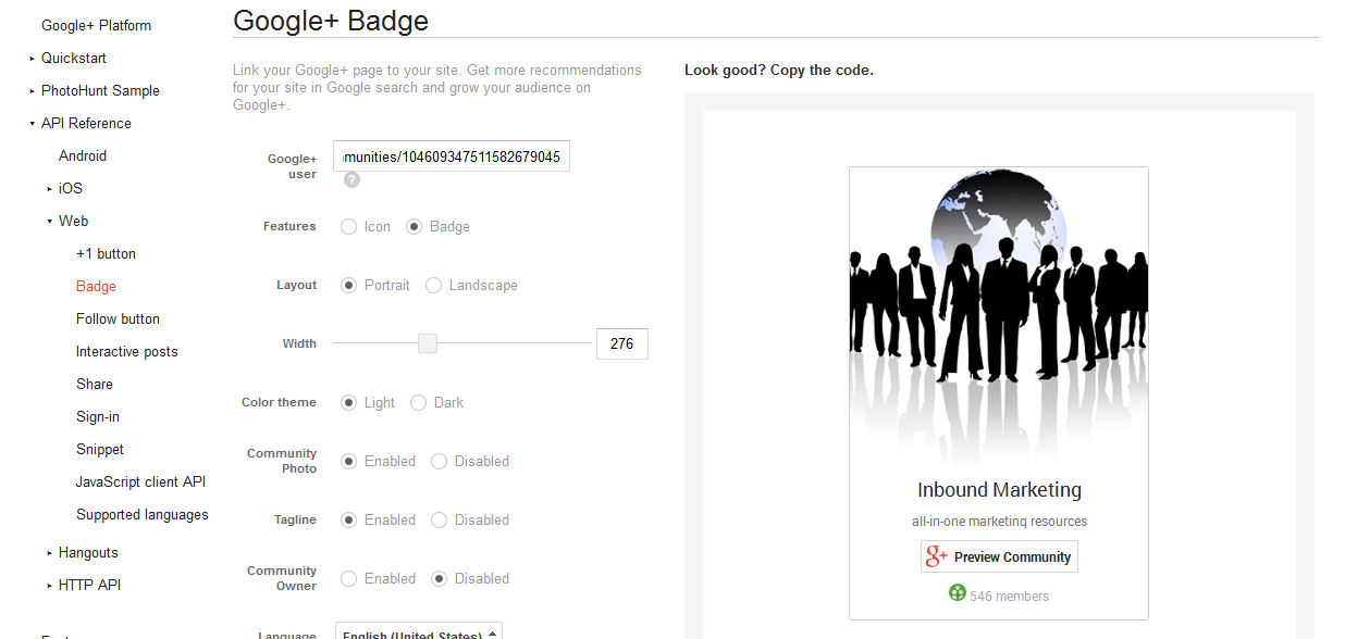 Google Plus Community Badge