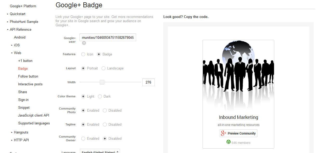 Google Plus Community Badge
