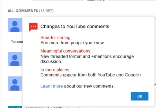 Youtube comments G+
