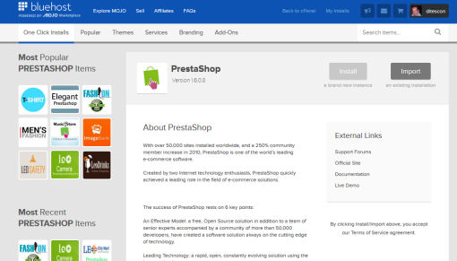 PrestaShop One Click Install
