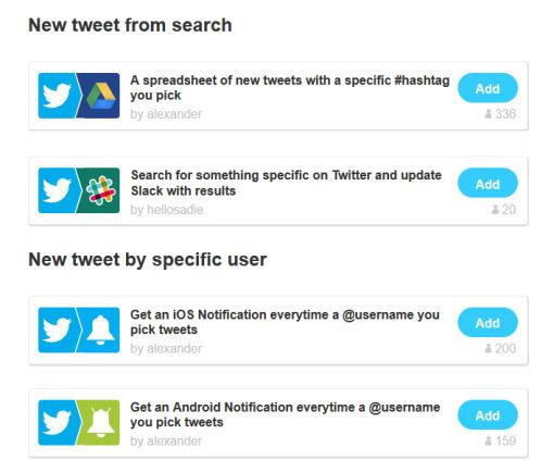 new ifttt twitter triggers