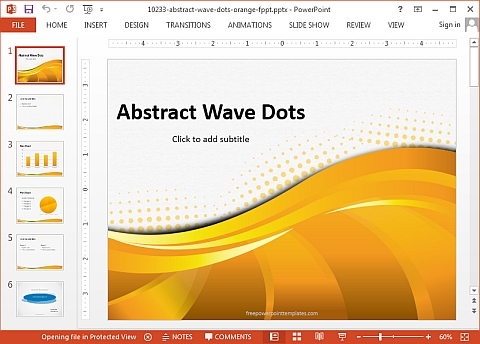 Abstract wave dots orange PowerPoint template