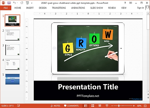 iPad grow chalkhand ppt template