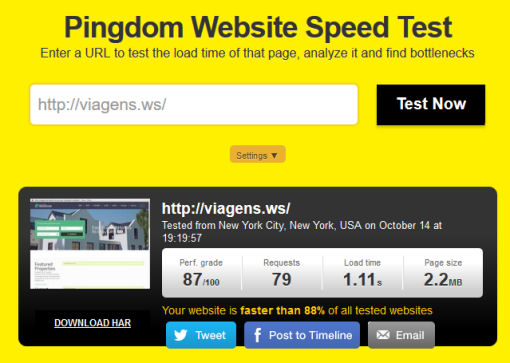 viagens speed test